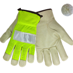 Grain Pigskin Driver Glove w/ Reflective Tape and Neon Back