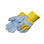 Gray Select Shoulder Leather Glove w/Yellow Canvas Back  X